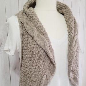 Takeout Tan Acrylic Open Vest Cardigan Sweater XL